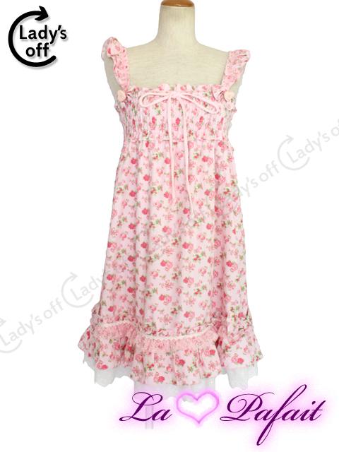 ラパフェ[La Pafait] 小薔薇柄 フリル フレアーワンピース ピンク