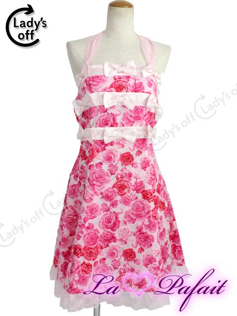 ラパフェ[La Pafait] 薔薇柄 リボン ベアワンピ ピンク