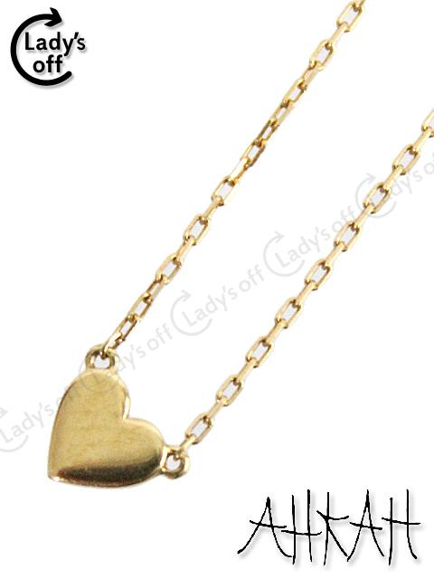 アーカー [AHKAH] ハートプレート ネックレス K18 ゴールド