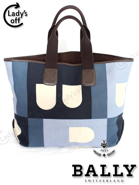 バリー[BALLY] B ロゴ キャンバス トートバッグ ブルー系