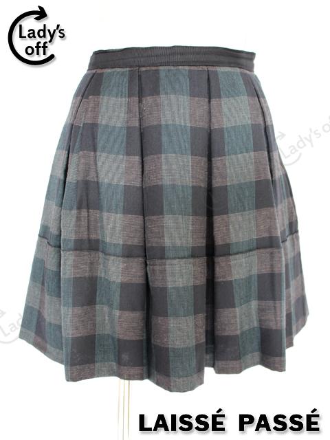 レッセパッセ [LAISSE PASSE] リボン付 ブロックチェック フレアー スカート 黒 グリーン [36]
