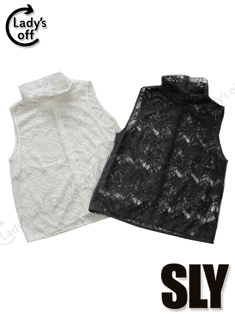 スライ [SLY] レース スタンドカラー ブラウス 2枚セット 白 黒 [1]