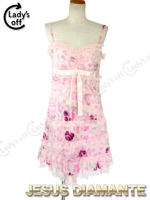 ジーザスディアマンテ[JESUSDIAMANTE] お嫁ワンピ [40] 豹薔薇柄 ピンク ワンピース ドレス ヒョウバラ柄