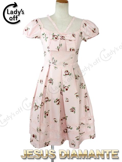 ジーザスディアマンテ[JESUSDIAMANTE] ミラーナワンピ [38] バルドーバラ柄 ピンク ワンピース ドレス