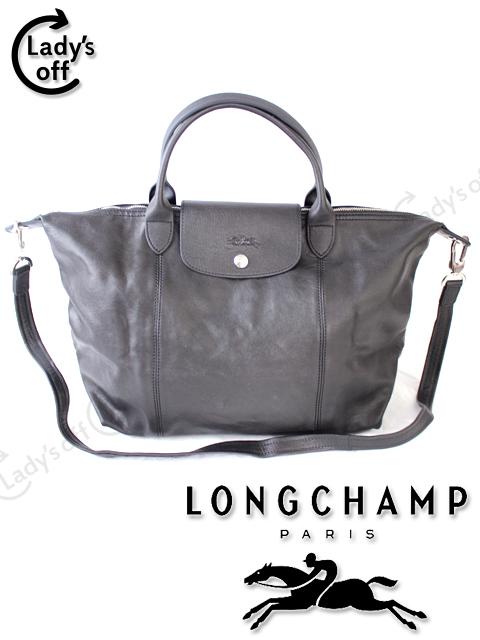 5ff99e34381f ロンシャン[Longchamp] Le Pliage Cuir ル・プリアージュ キュイール M レザー ハンドバッグ 黒