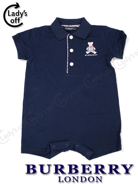 バーバリーロンドン 襟付 カバーオール 半袖 紺 [70CM] ベビー