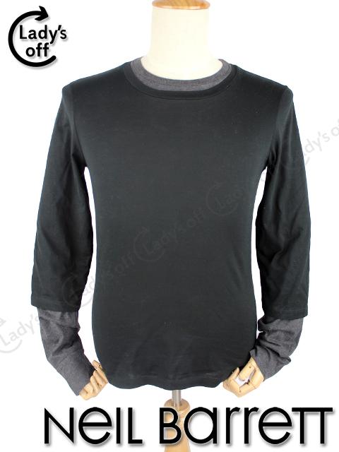 ニールバレット [NEIL BARRETT] 重ね着風 長袖 Tシャツ 黒 [XS]