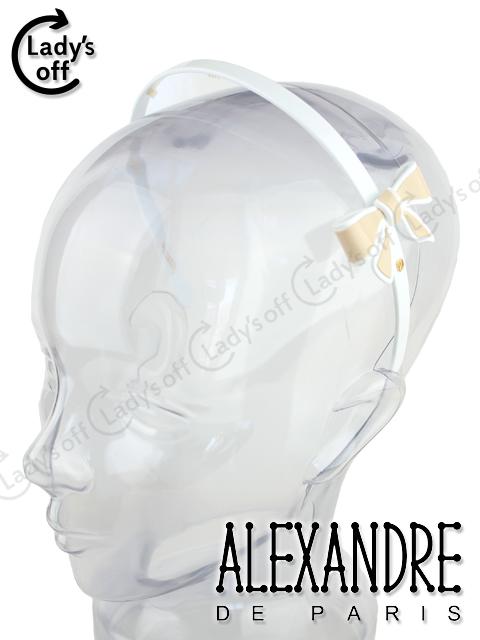 アレクサンドルドゥパリ リボン カチューシャ 白 ベージュ mix-9740