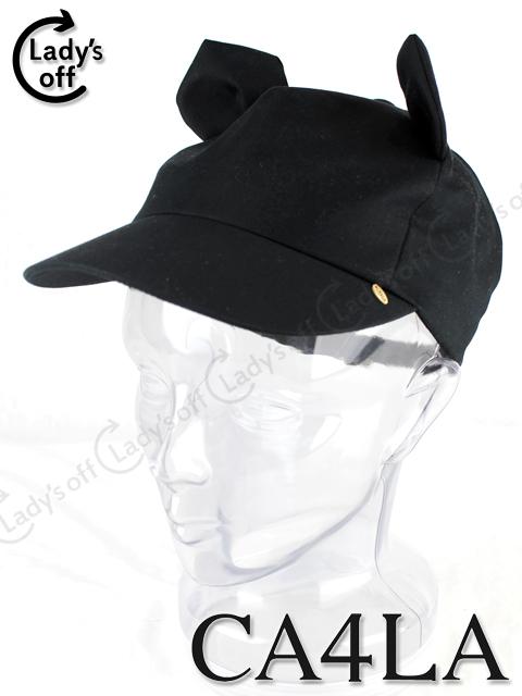 カシラ [CA4LA] 耳付 キャップ 帽子 黒 ブラック mix-9798
