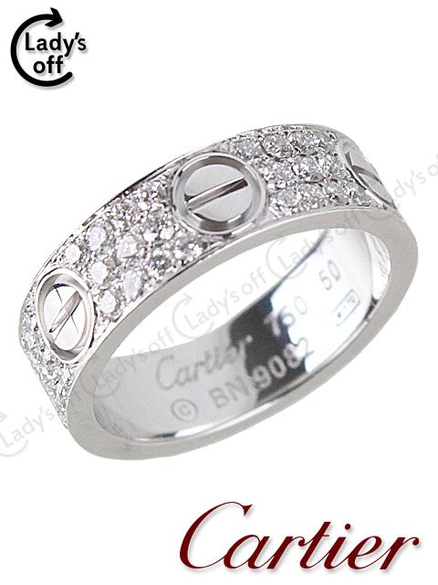 カルティエ [Cartier] ラブリング 三列 フルダイヤ WG750