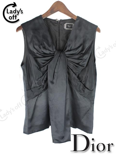 ディオール [ Dior ] シルク リボン ブラウス 黒 [38]
