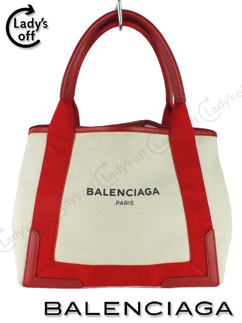 バレンシアガ [ BALENCIAGA ] ネイビーカバ S 赤 [339933] キャンパス バッグ