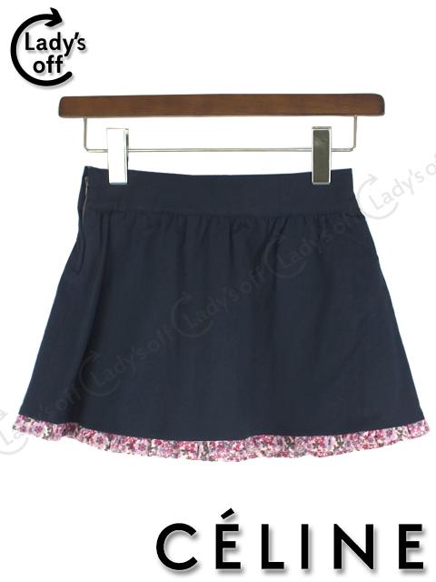 セリーヌ [ CELINE ] フレアースカート 紺色×花柄