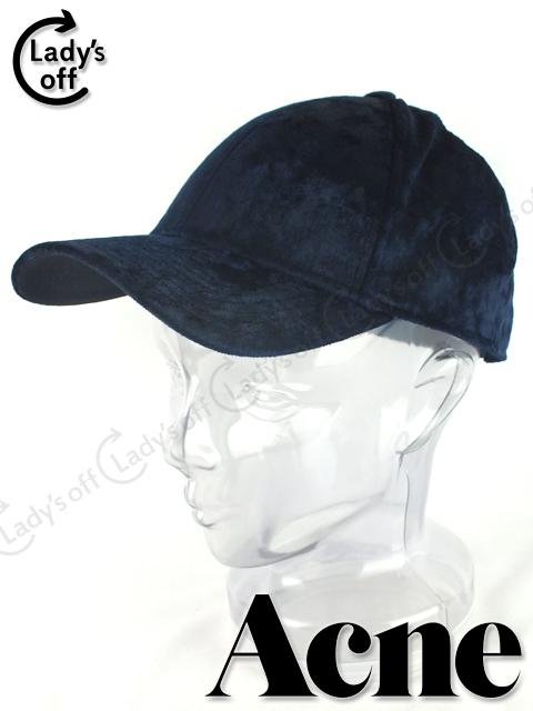 アクネ [ Acne STUDIOS ] ベロア キャップ 帽子 紺色