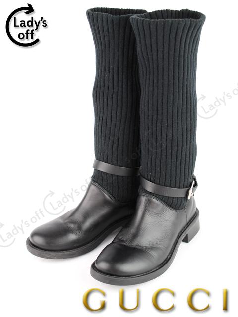 グッチ [ GUCCI ] キッズ 子供用 ニット ブーツ 黒 [21cm~21.5cm]