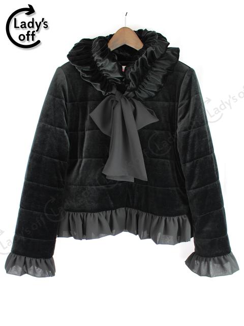 トワレ [ Toilette ] 中綿 フリル リボン ジャケット ブルゾン コート黒