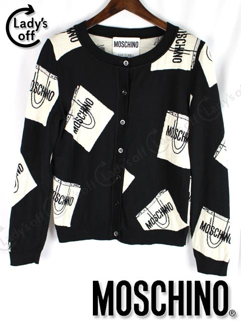 モスキーノ クチュール [ MOSCHINO ] ロゴ ニット カーディガン ブラック 黒 長袖 セーター