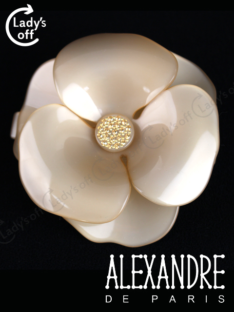 アレクサンドルドゥパリ [ ALEXANDRE ] カメリアバレッタ ベージュ [大] ヘアアクセサリー