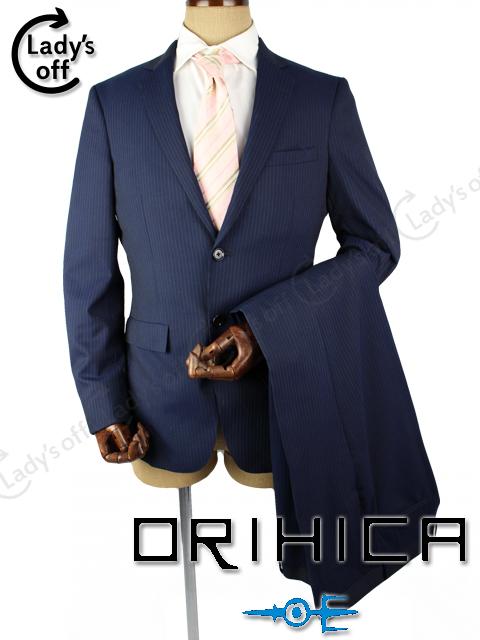オリヒカ [ ORIHICA ] 2B ストライプ シングル スーツ ネイビー 紺色 SIZE[A6] ストレッチ Smart 10month