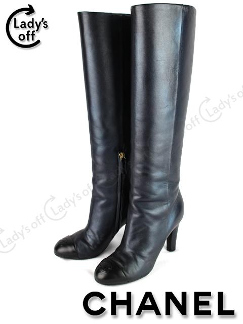 シャネル[CHANEL] 14A CCマーク ラメ ロングブーツ 黒 [37.5C] [G30216 X01000 C7324]