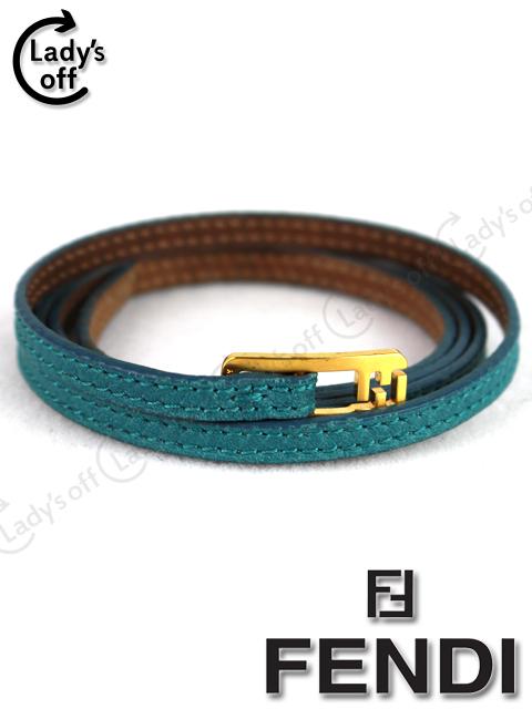 フェンディ[FENDI] FF金具 レザー ブレスレット ブルー