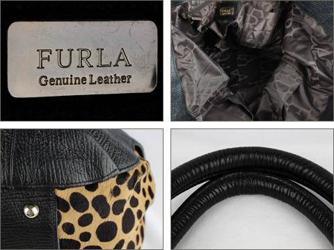 fd746c1543b1 ... フルラ [ FULRA ] レザー×ハラコ バッグ 黒 レオパード柄 トートバッグ ハンドバッグ