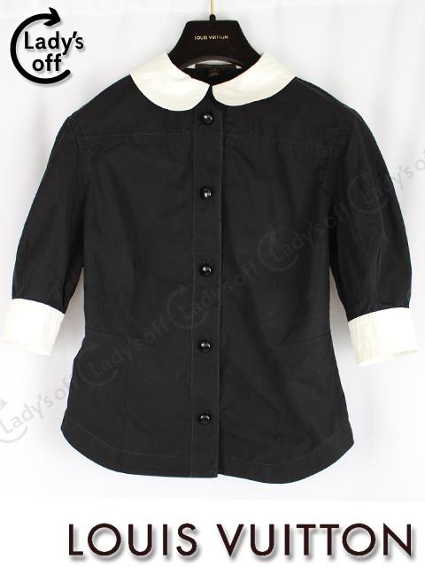 ルイヴィトン [ LOUISVUITTON ] バイカラー シャツ ブラウス 黒 白 半袖 SIZE[34