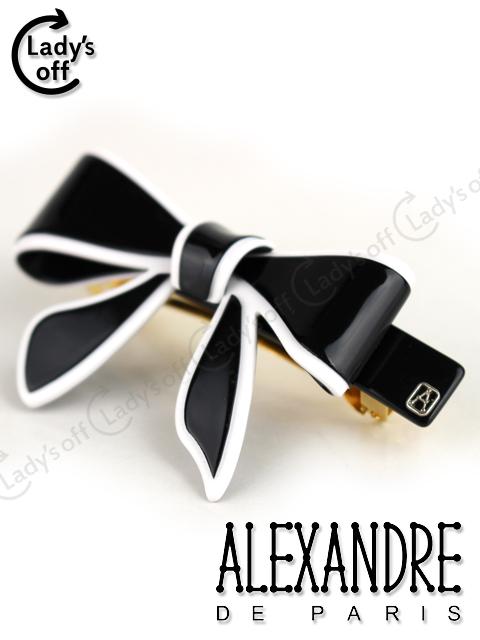 アレクサンドルドゥパリ [ ALEXANDRE ] リボン バレッタ ブラック 黒 ヘアアクセサリー ヘアクリップ