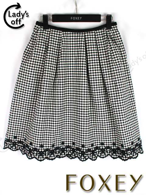フォクシー NY [FOXEY] フラワー レースギンガムチェック フレアースカート 黒 白
