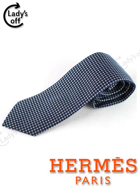 エルメス [ HERMES ] ドット柄 ネクタイ ネイビー 紺色