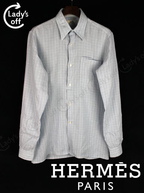 エルメス [ HERMES ] セリエボタン リネン チェック柄 カジュアルシャツ ブルー
