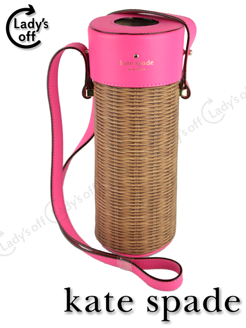 ケイトスペード [ katespade ] ストロー プリント 筒型 ショルダーバッグ [ 183809 pack a picnic champagme box ]