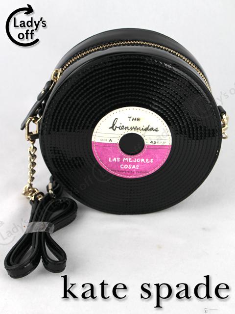 ケイトスペード [ katespade ] レコード エナメル チェーン ショルダーバッグ 黒 クラッチバッグ [ fancy footwarksaxton]