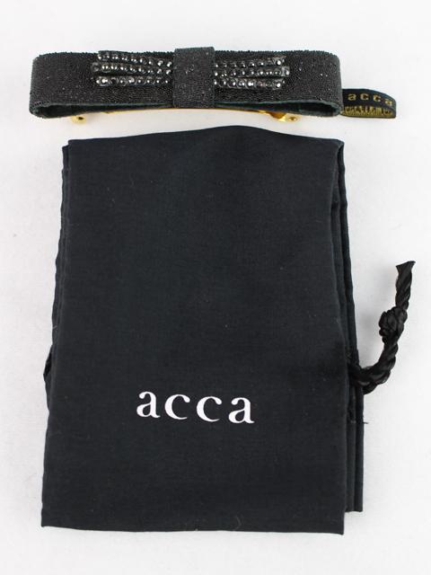 アッカ [ acca ] スワロフスキー リボン バレッタ ブラック 黒 ヘアクリップ ヘアアクセサリー