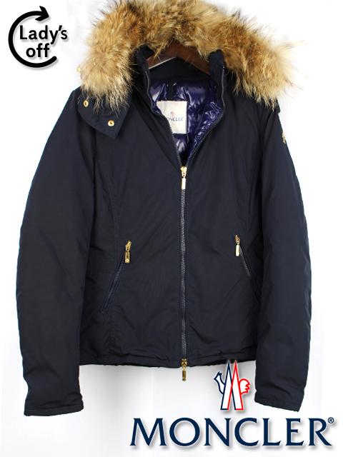 モンクレール [ MONCLER ] ファー ダウン ジャケット コート ネイビー 紺色 SIZE[1] AMIENS レディース フード パーカー パーカ