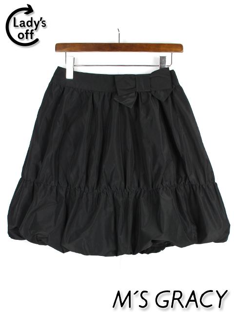 エムズグレイシー [ MS GRACY ] リボン フレアースカート ブラック 黒 SIZE[38] タフタ バルーン レディース ボトムス