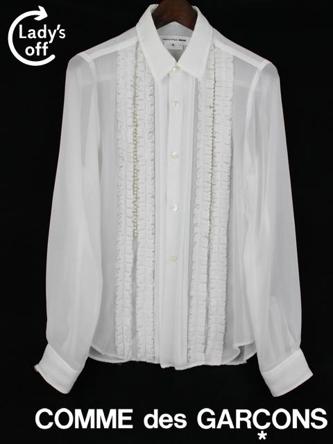 コムデギャルソン NOIR [ COMME des GARCONS ] パール フリル シフォン ブラウス ホワイト 白 長袖 レディース トップス シャツ