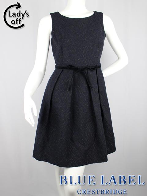ブルーレーベル クレストブリッジ [ BLUELABEL ] ツイード ノースリーブ リボン ベルト ワンピース 紺×黒