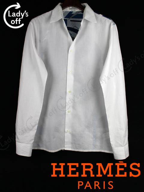 エルメス [ HERMES ] セリエ スカーフ柄 カジュアル シャツ 白 長袖 SIZE[39 15・1/2]