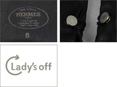 エルメス [ HERMES ] セリエ レザー グローブ ブラック 黒 紳士用 手袋 男性用 メンズ