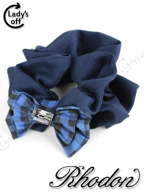 ロードン [ Rhodon ] ビジューリボンリボン シュシュ 紺色 青×黒チェック柄 ヘアゴム ヘアアクセサリー