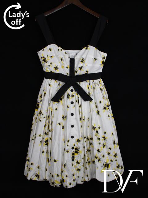 ダイアンフォンファステンバーグ [ DIANE ] 蜂柄 リボン フレアー シャツ ワンピース ホワイト 白 SIZE[2] レディース 女性用 婦人用