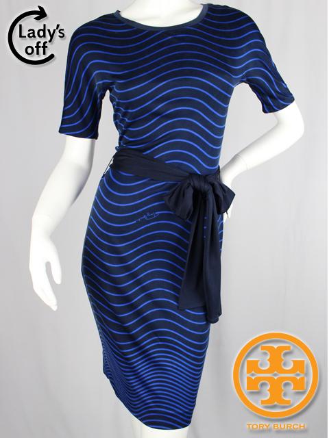 トリーバーチ [ TORYBURCH ] ボーダー リボン ストレッチ ワンピース 青紺 SIZE[XS] レディース ドレス チュニック 女性用 婦人用