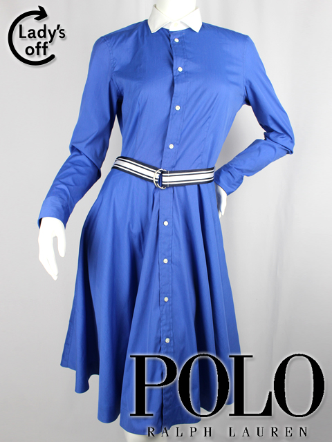 ポロ ラルフローレン [ POLO RalphLauren ] ベルト シャツ フレアー ワンピース ブルー 青 SIZE[4/160/88A] レディース 女性用 婦人用