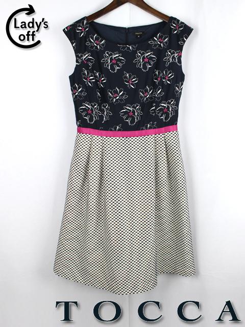 トッカ [ tocca ] フラワー 刺繍 フレアー ワンピース SIZE[4] ノースリーブ 花柄 ネイビー 紺色 レディース 婦人用