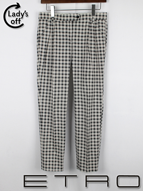 エトロ [ ETRO ] チェック柄 ストレッチ テーパード パンツ 白 黒 SIZE[40] レディース 女性用 婦人用 ボトムス