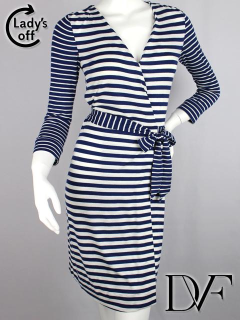 ダイアンフォンファステンバーグ [ DIANE ] ボーダー ラップワンピース 紺白 SIZE[0] レディース 女性用 婦人用 リボン ドレス ダイアン