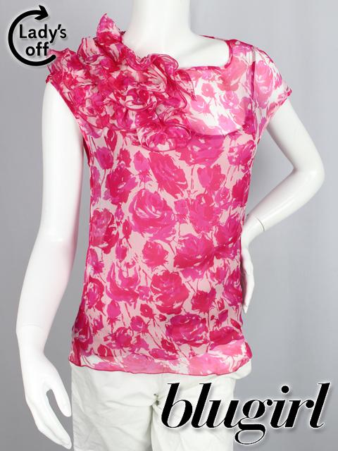 ブルーガール / ブルマリン [Blugirl ] バラ シフォン ブラウス ピンク SIZE[I38 D32] レディース 女性用 婦人用 薔薇柄 トップス シャツ プルオーバー