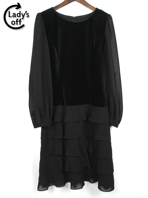 銀座マギー [ MAGGY ] ベロア フリル ワンピース ブラック 黒 SIZE[40] レディース ドレス ボリュームスリーブ