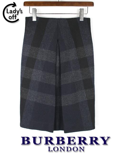 バーバリーロンドン [ BURBERRY LONDON ] チェック柄 プリーツスカート 紺×黒 レディース 女性用 婦人用 ボトムス
